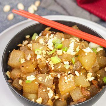 Bowl of Thai Winter Melon Stir-Fry with chopsticks