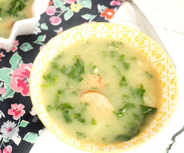 bowl of Caldo Verde - Potato Kale Soup