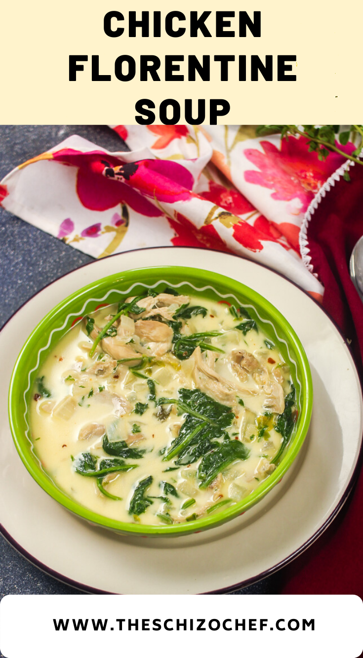 bowl of Chicken Florentine Soup with text