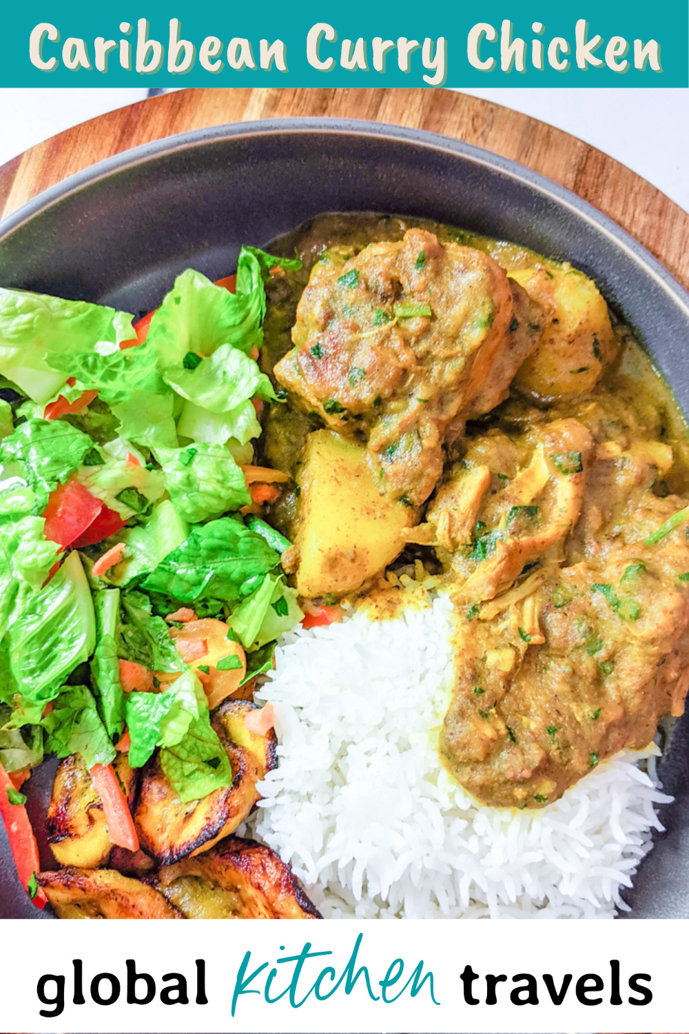 plate of curry chicken, rice and salad with text