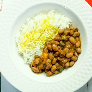 plate of rice and Habichuela Guisadoa- Puerto Rican Stewed Beans