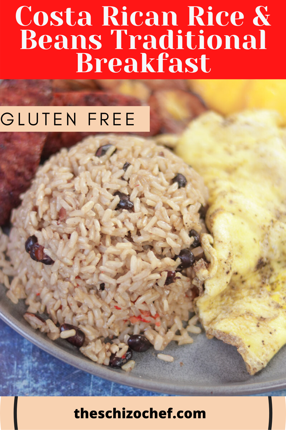 Gallo Pinto - Costa Rican Rice & Beans Breakfast Platter with text for Pinterest