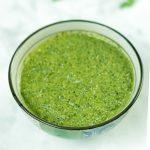 Indian Green Chutney - Cilantro Mint Chutney in a bowl