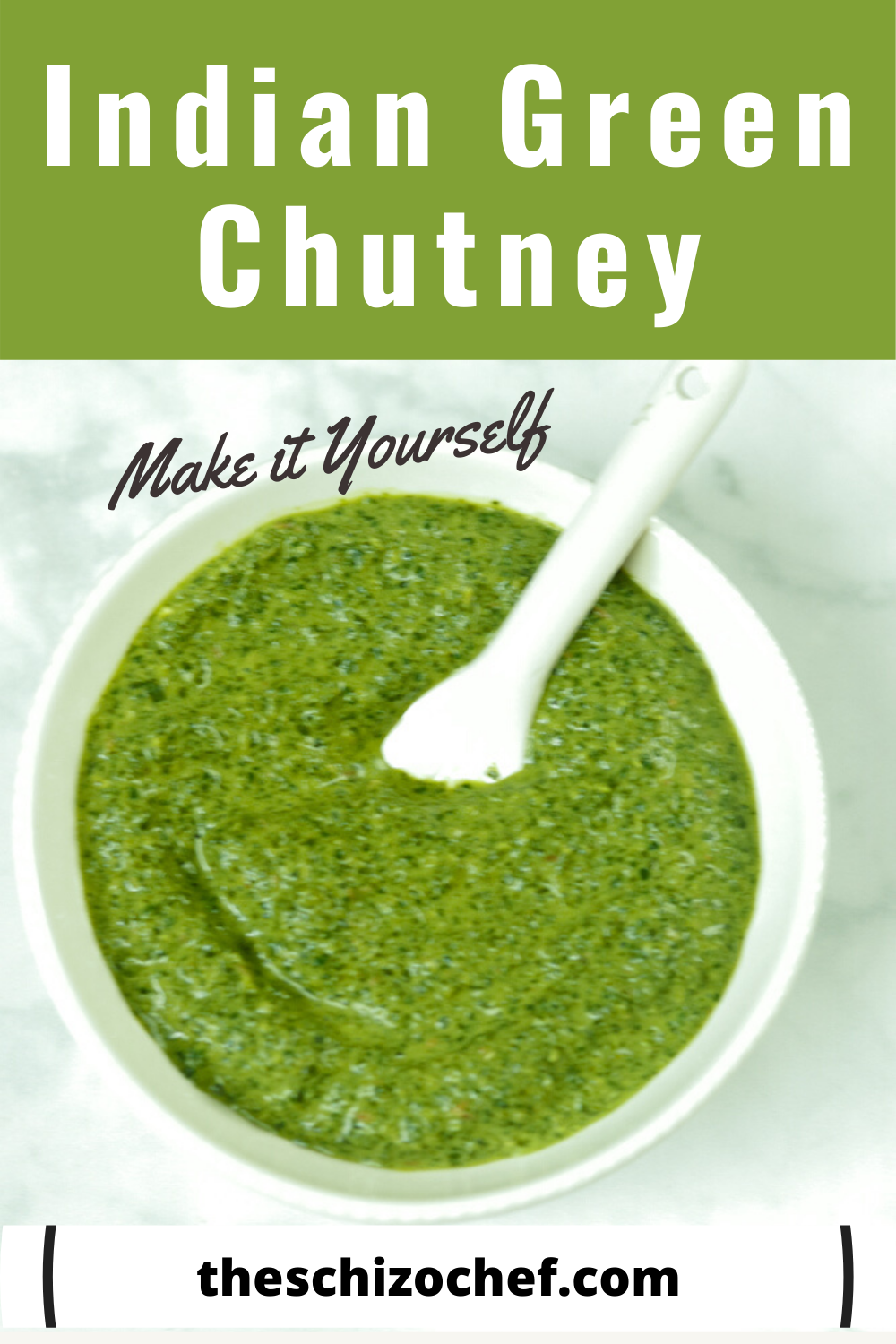 Indian green chutney in a bowl with text
