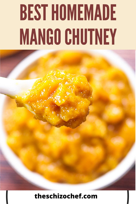 bowl of mango chutney with text
