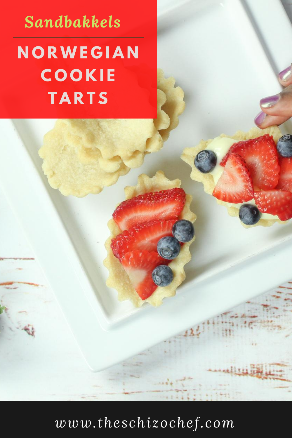 fruits in mini tarts with text