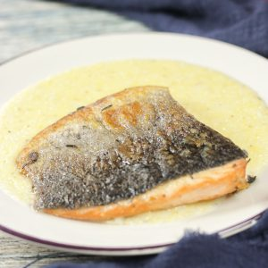 salmon and polenta on plate