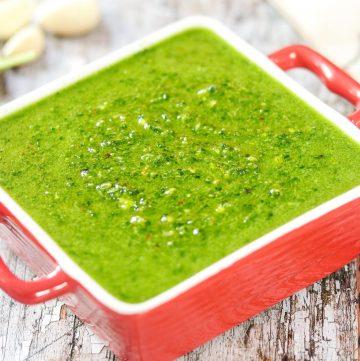 bowl of spinach pesto