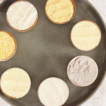 plate of types of cornmeal and polenta