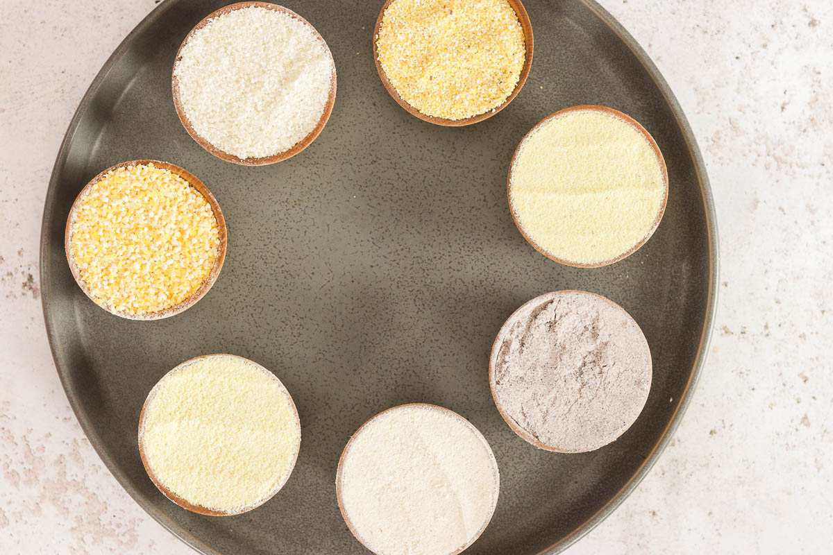 plate of different types of cornmeal