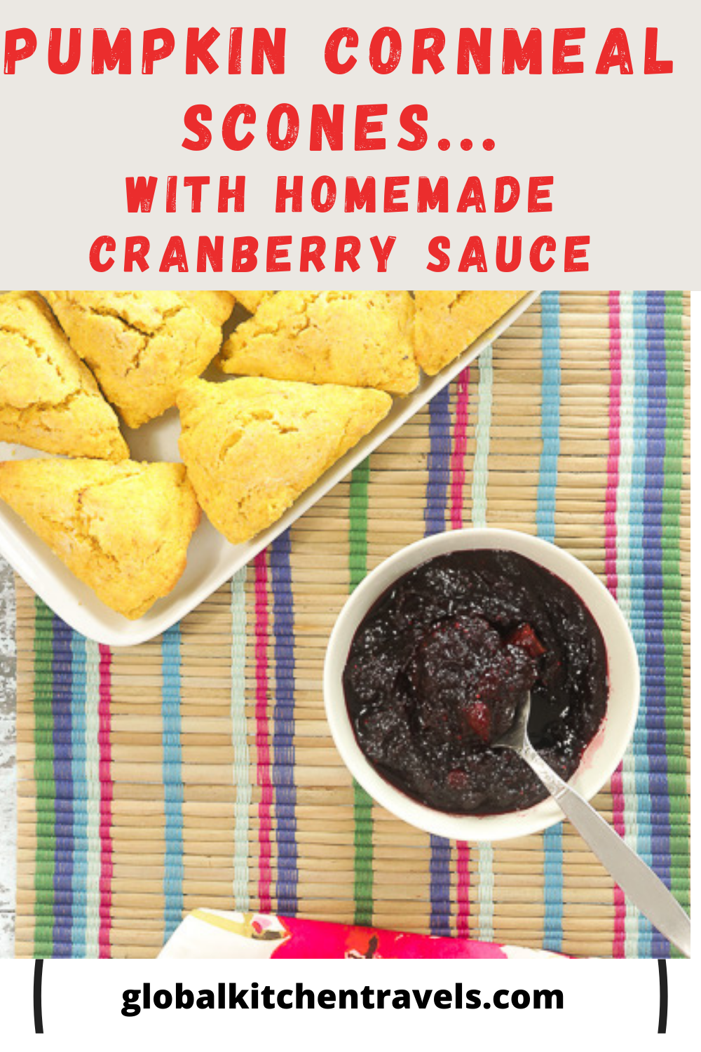 pumpkin scones and creanberry sauce with text