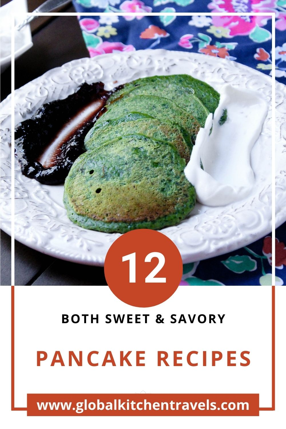photo of spinach pancakes on plate with text