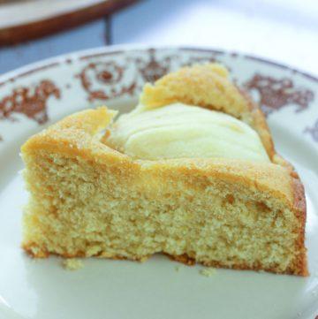 slice of sunken apple cake