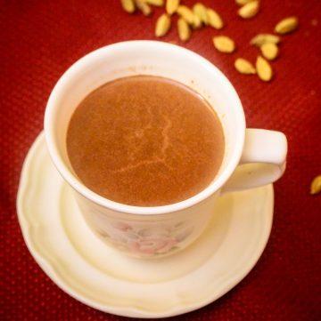 mug on saucer with hot chocolate