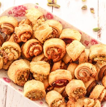 plate of rugelach cookies
