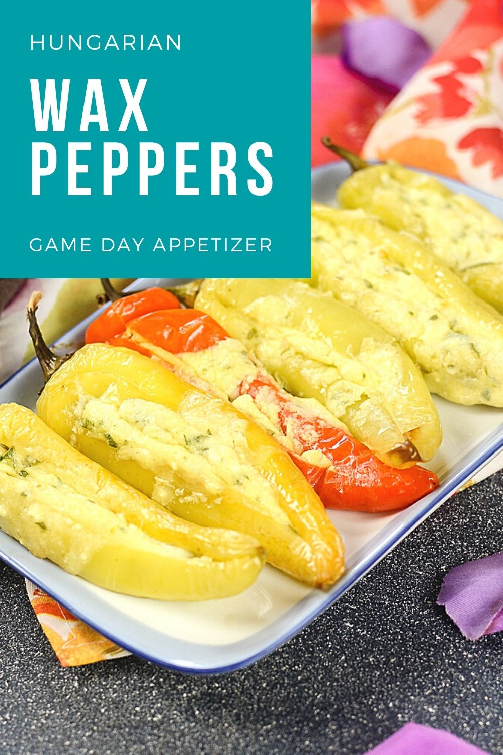 Hungarian Stuffed Peppers with cheese - with text