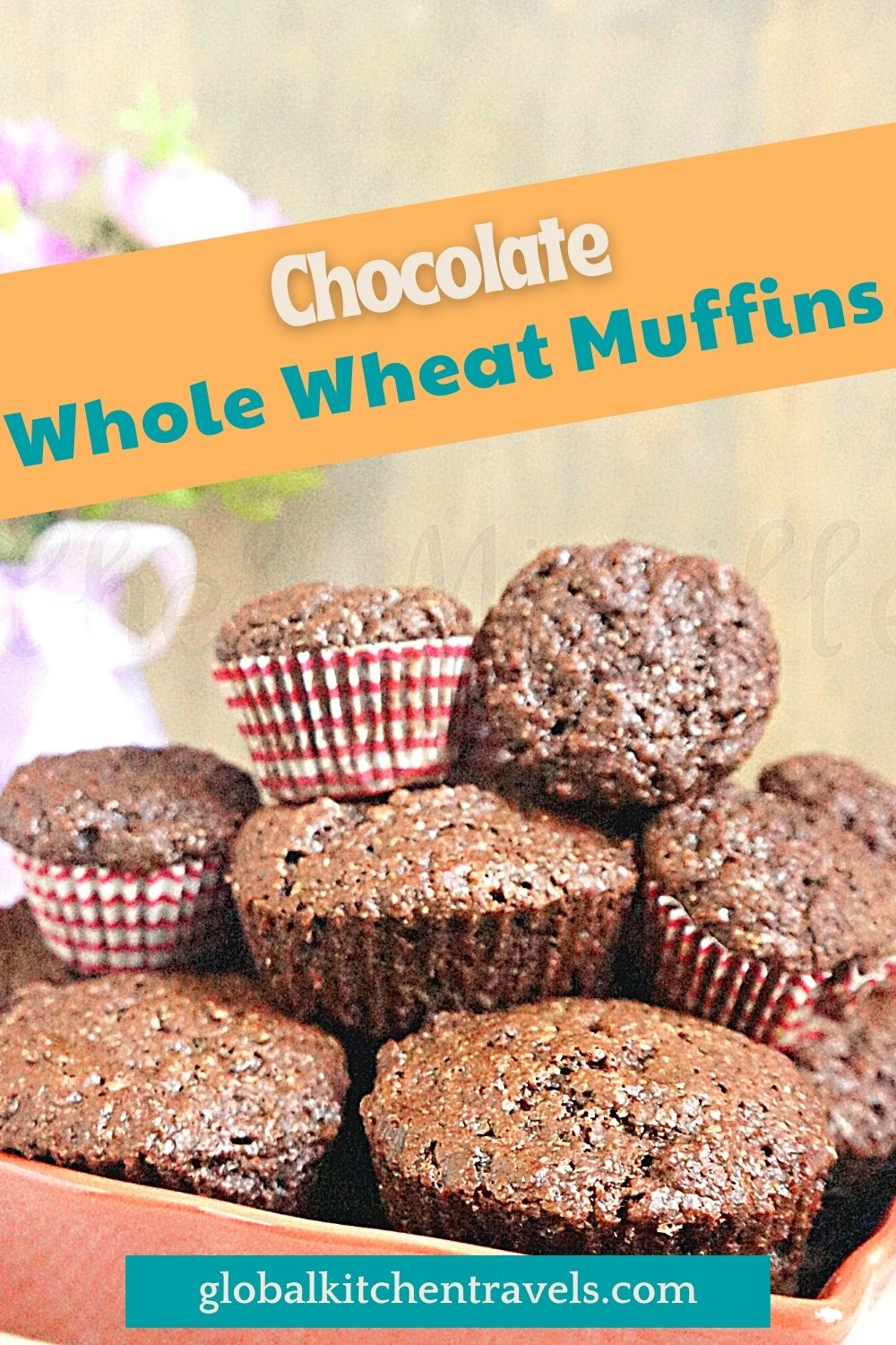 bowl of chocolate muffins with text