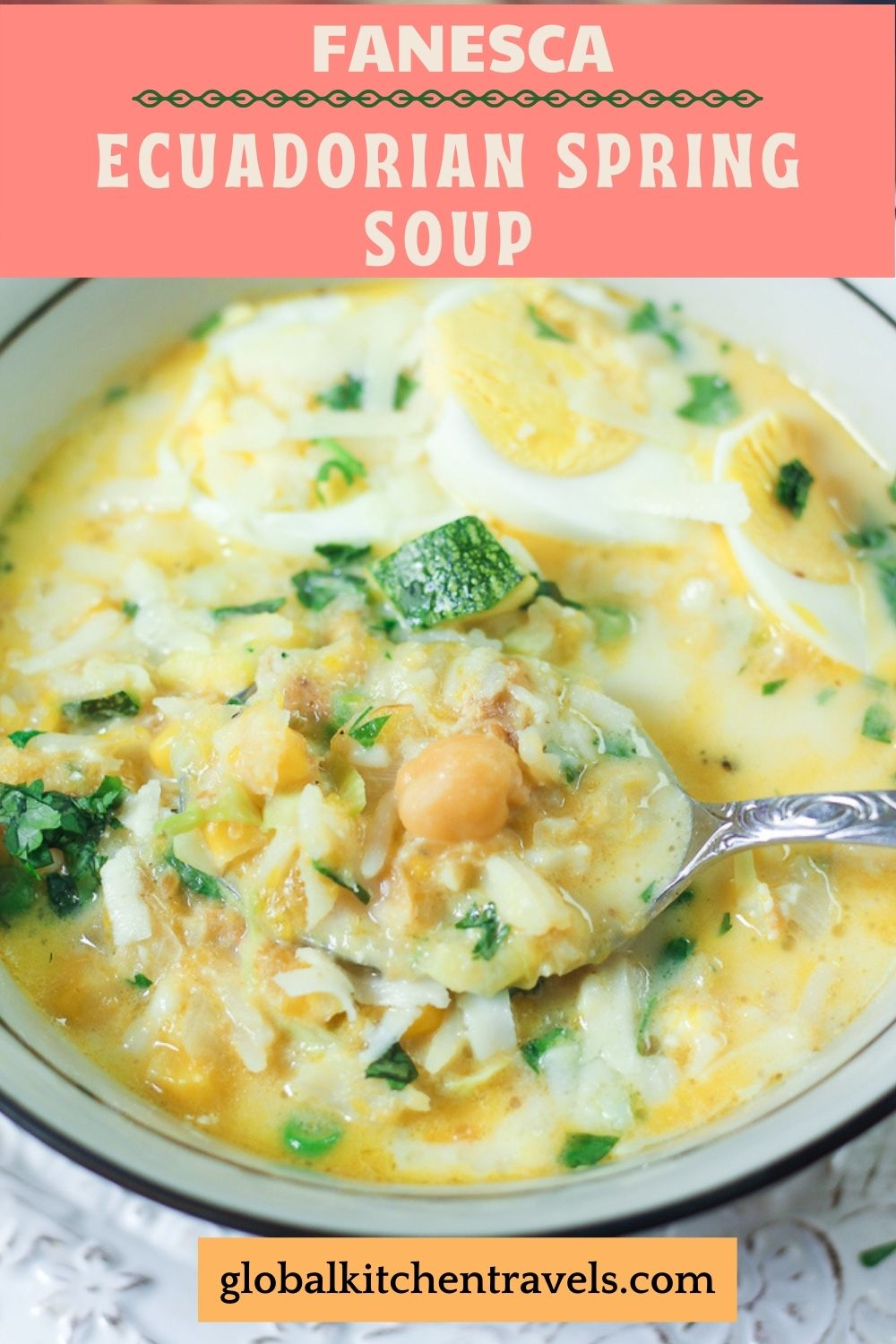 Spring Vegetable Soup in a bowl with text
