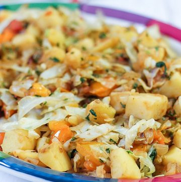 cabbage and potato side dish on a plate