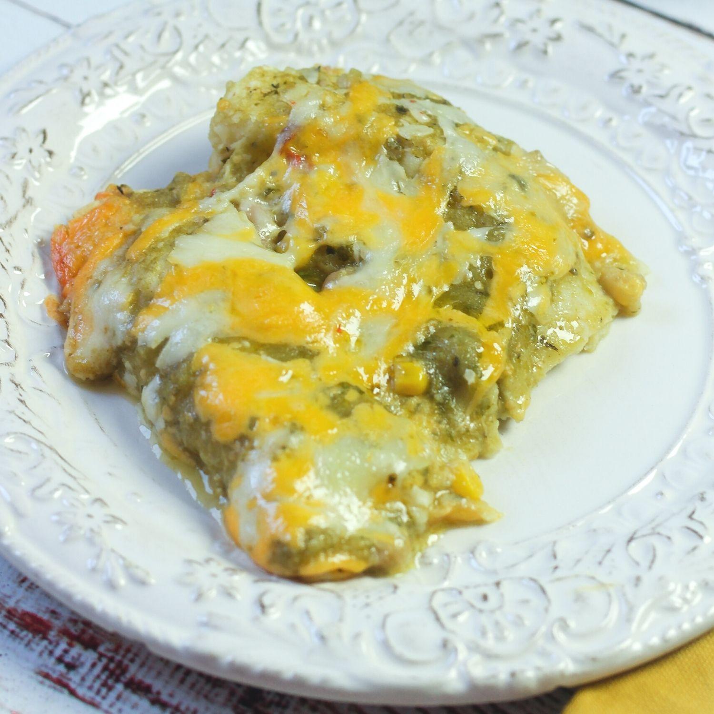 Vegetarian Enchiladas Verde on a white plate