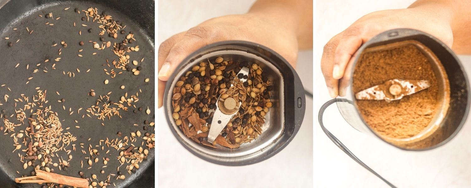 spices roasted in pan and then ground to a powder