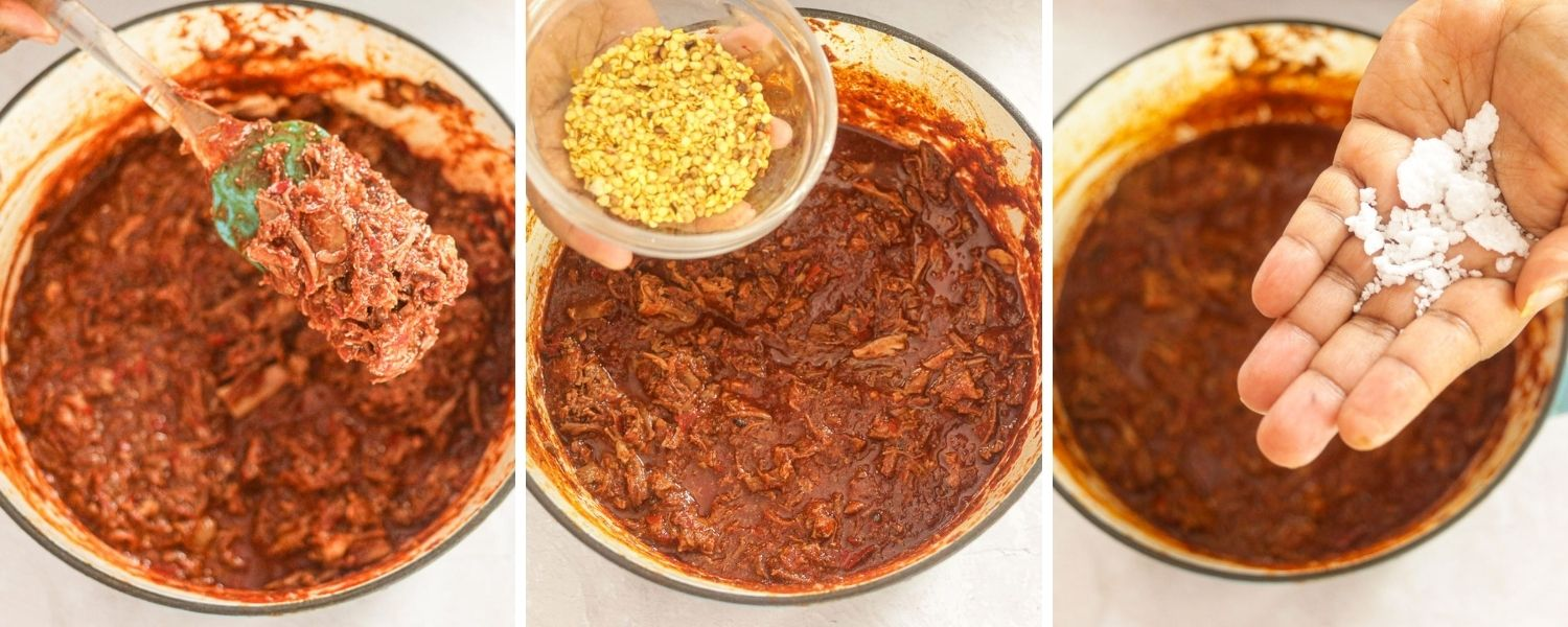 Goat Birria with seasoning of chili seeds and salt