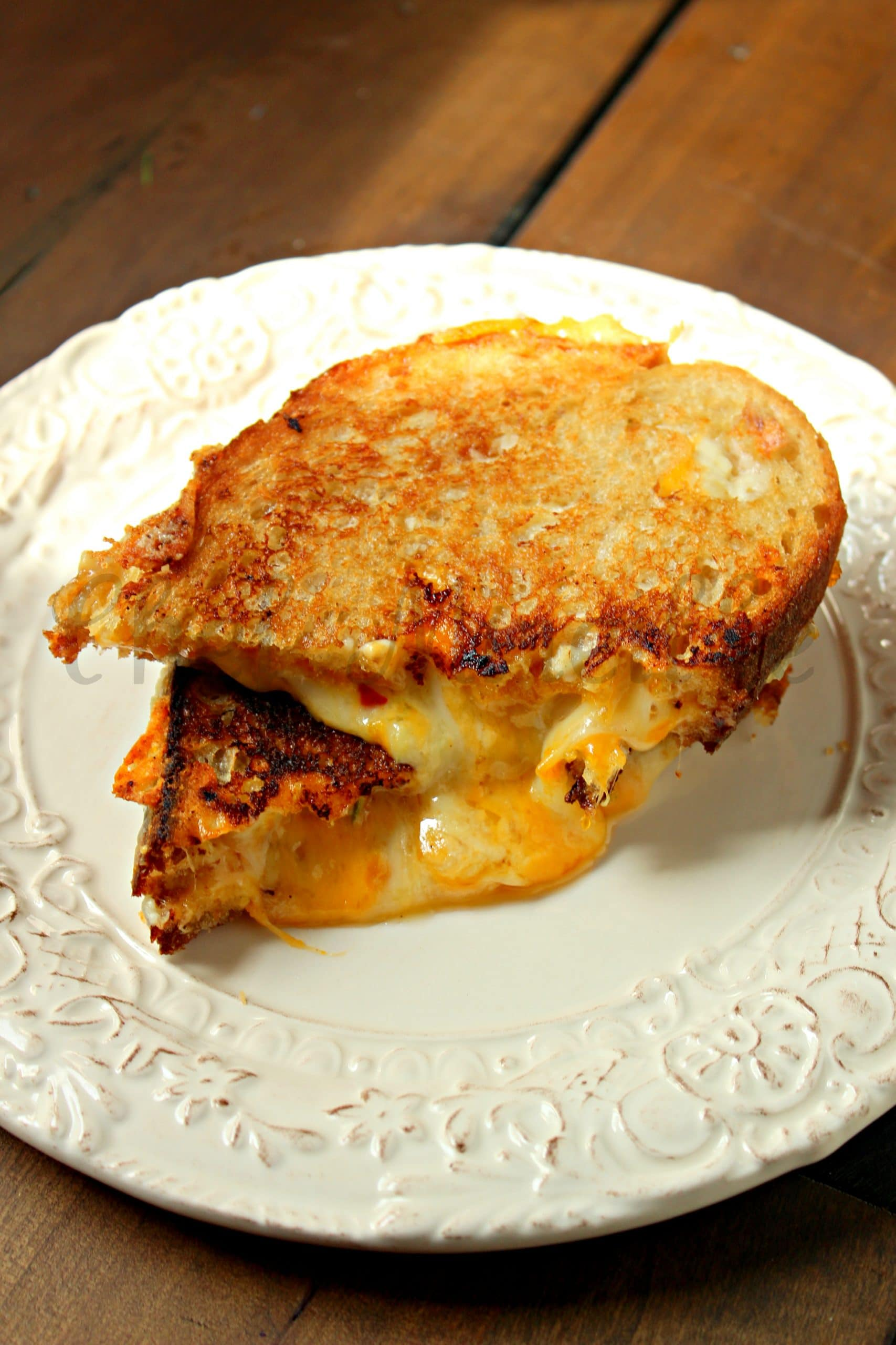 Gourmet Grilled Cheese Sandwich with 4 cheeses.