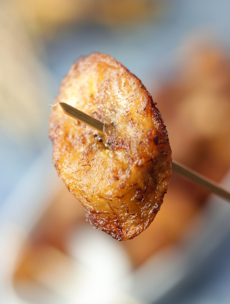 Kelewele -Spicy Fried Plantains on a toothpick. Makes a great Vegan party appetizer with this African recipe.