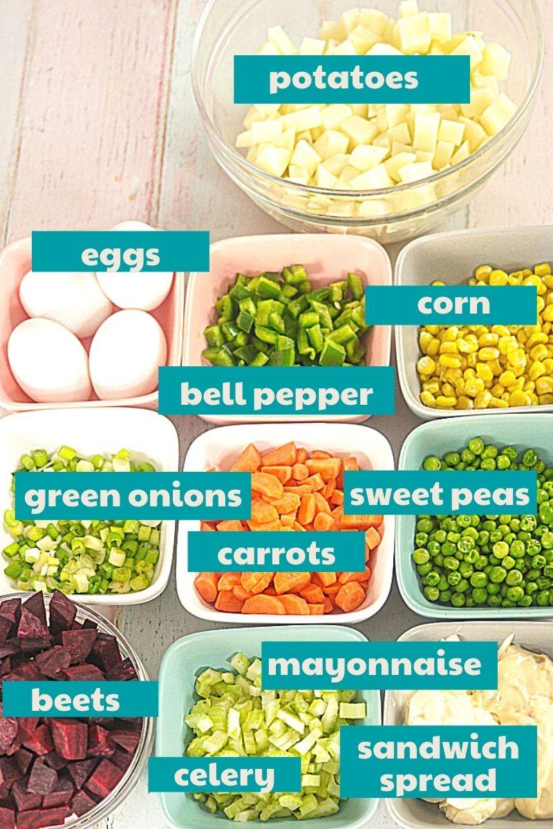 Ingredients for Haitian Beet Salad