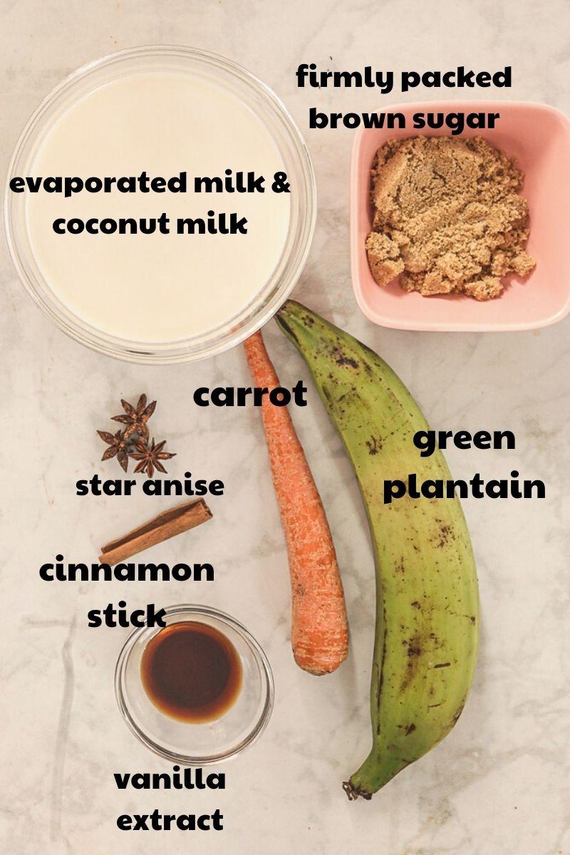 ingredients for Plantain Porridge with text