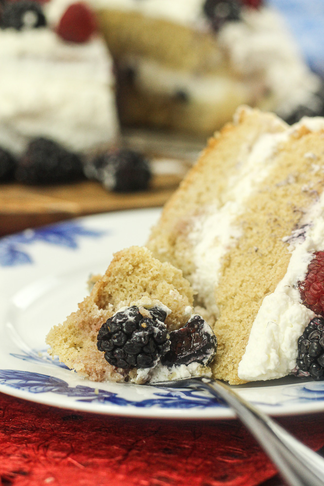 Cream Cake with Fresh Berries and Custard.
