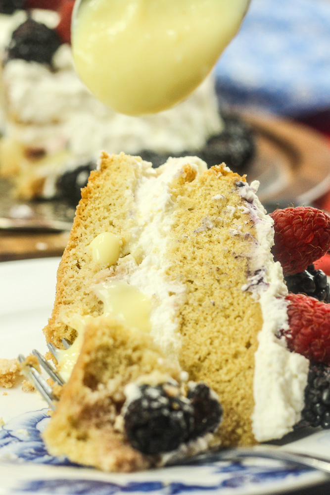Custard Cream Cake with Fresh Berries