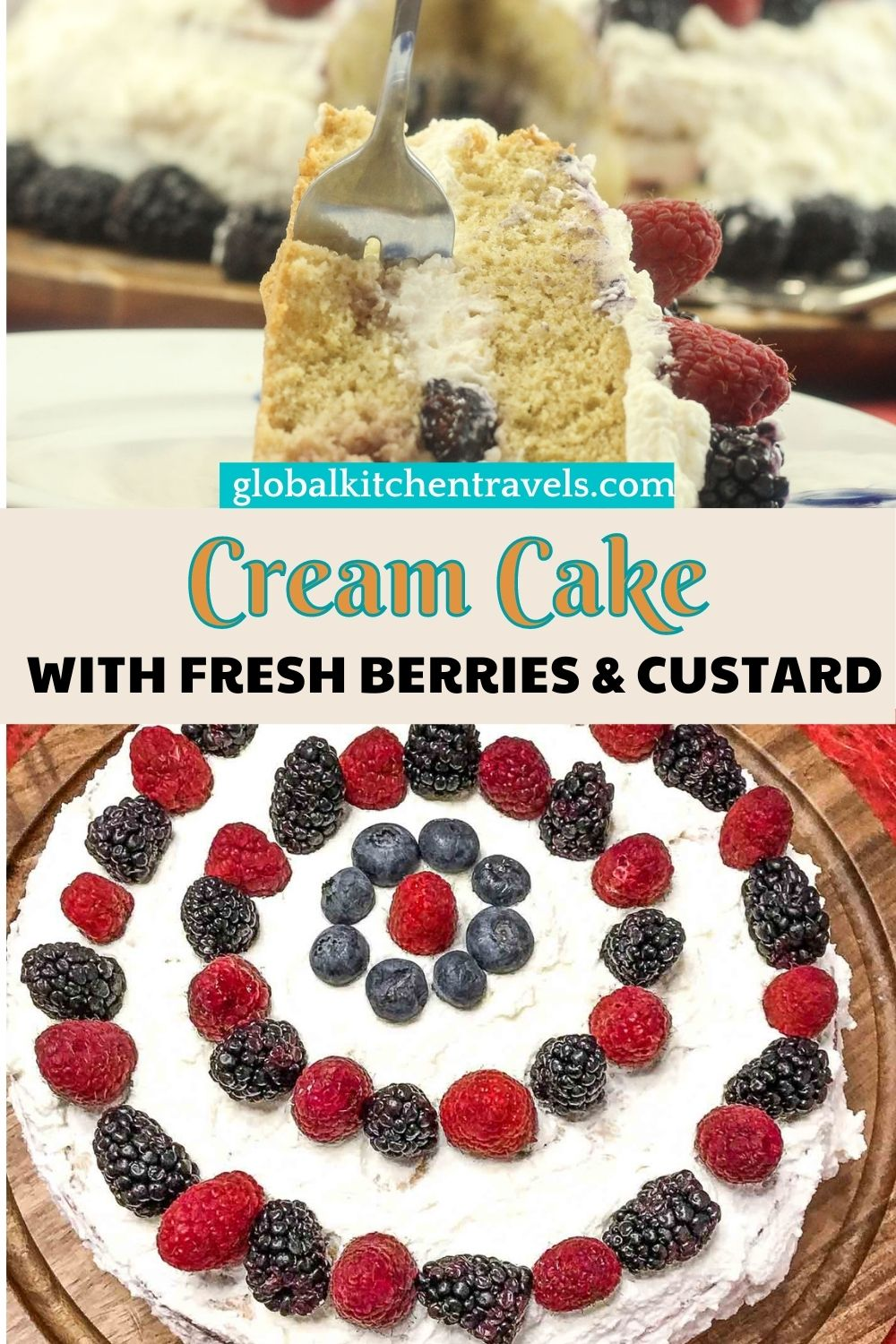 Fresh Berry Cream Cake with layers of fresh fruit and custard and topped with fresh cream frosting. #creamcake #layercake Just like Italian Cream Cake #picnicrecipes #porluckrecipes