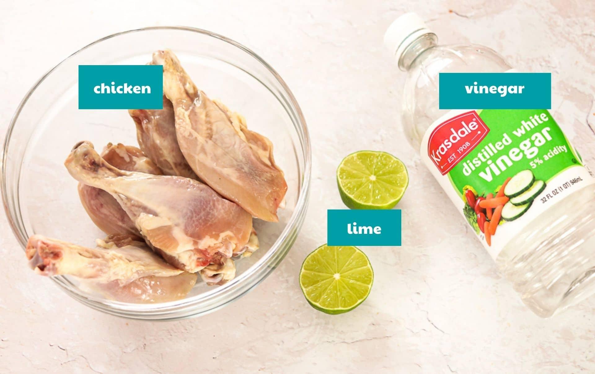 Ingredients to clean chicken