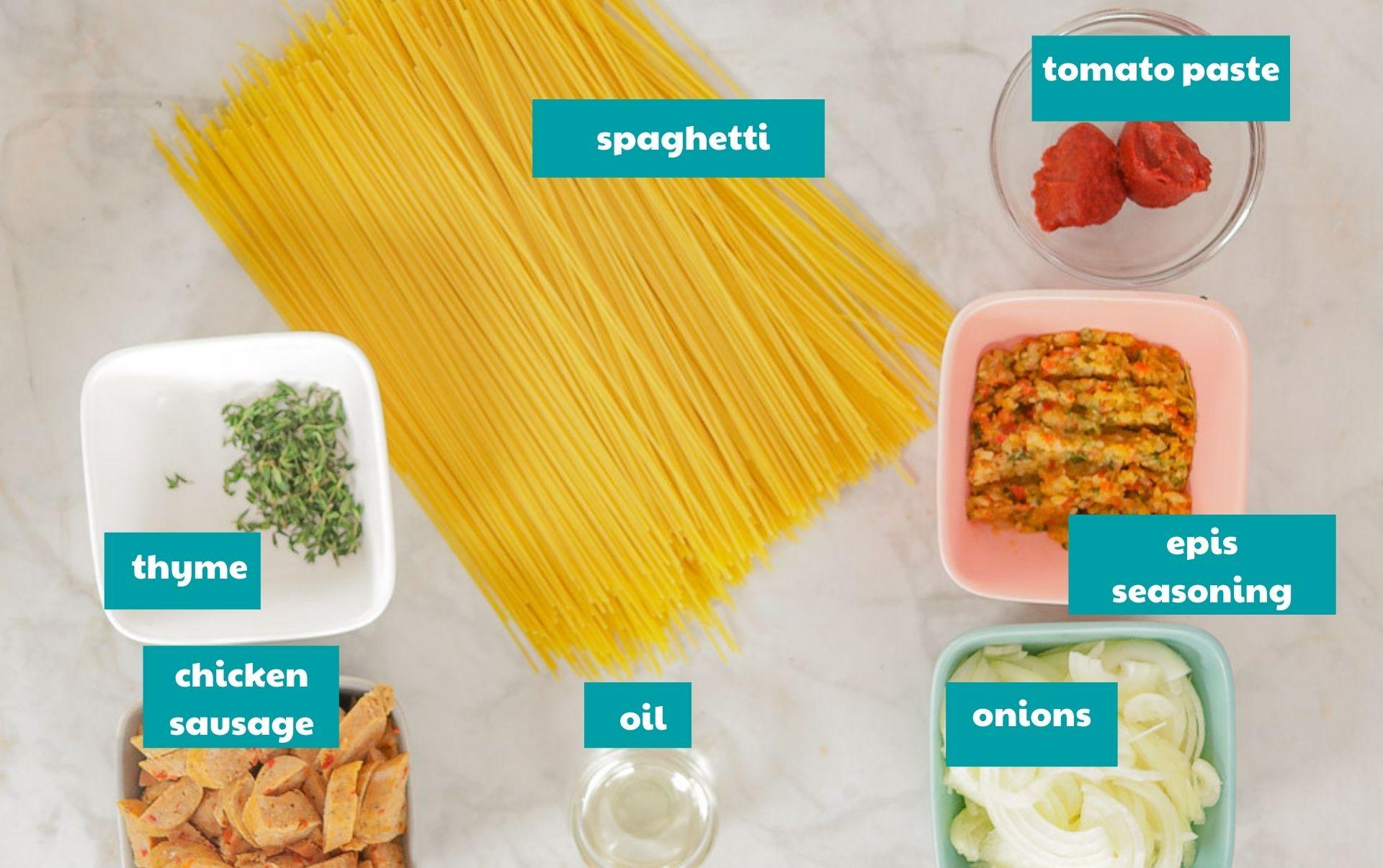 Haitian spaghetti ingredients