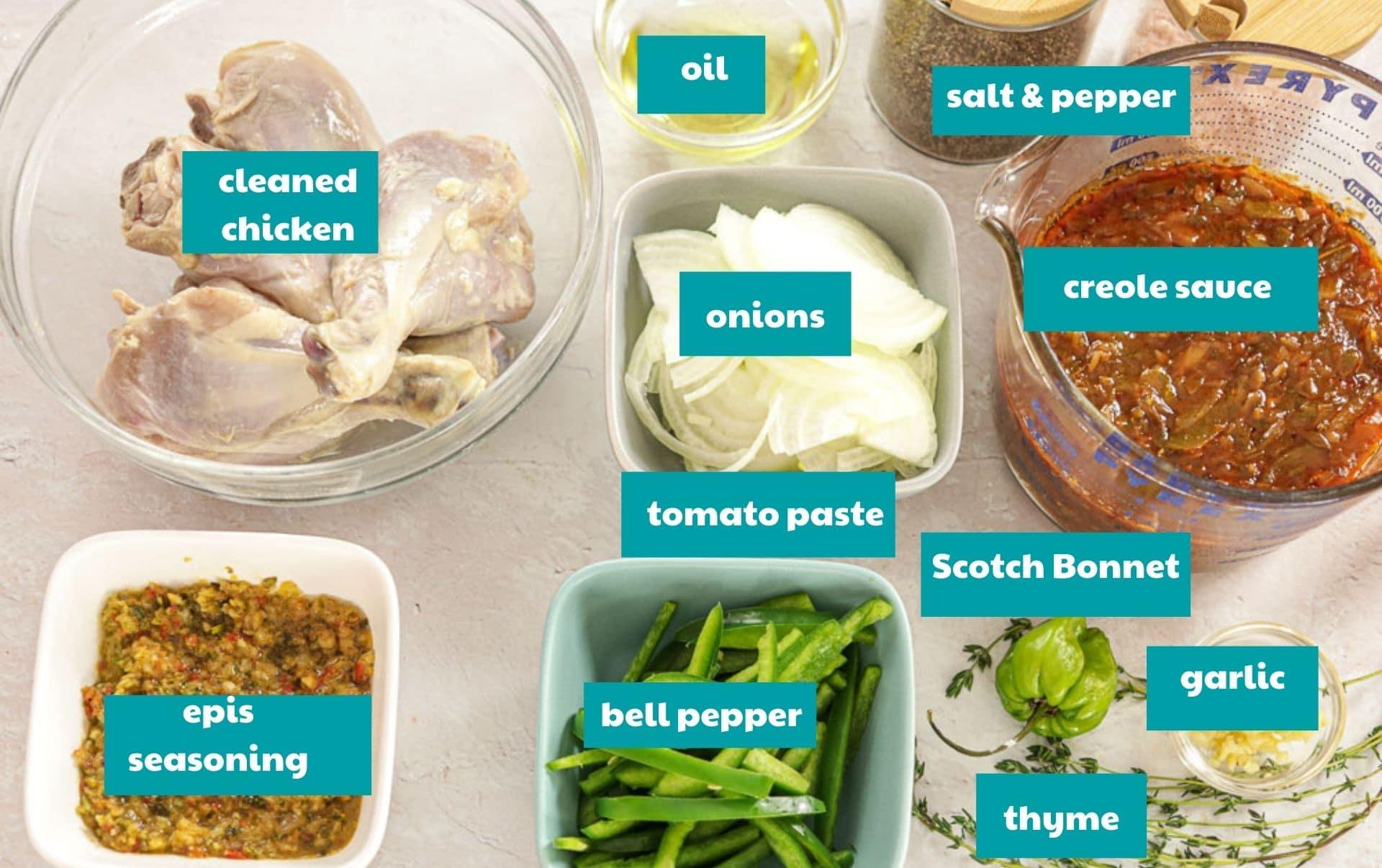 ingredients for Haitian Chicken Stew