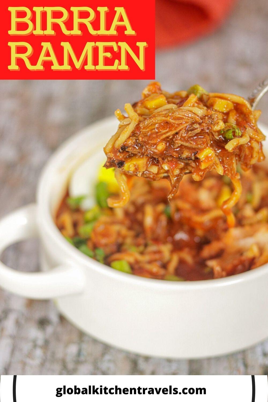 bowl of Birria Ramen with text