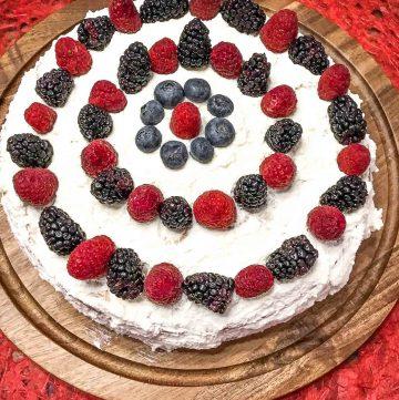 Cream Cake with fresh berries and custard.