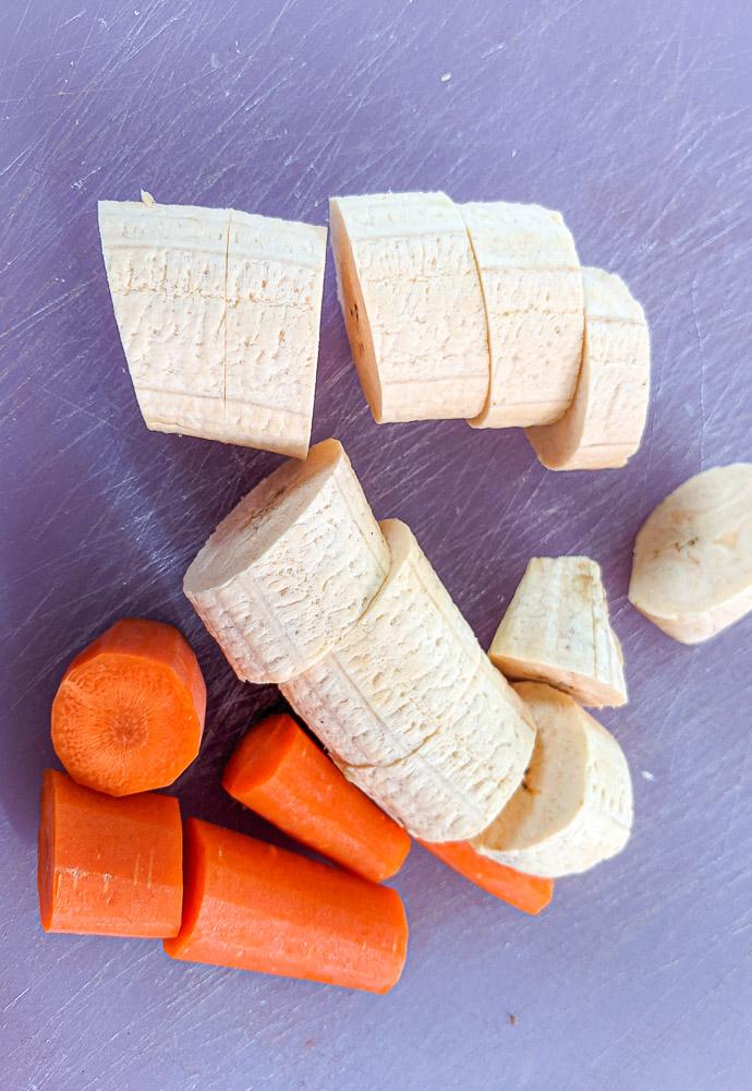 chopped carrots and plantain for Labouyi - Haitian Plantain Porridge