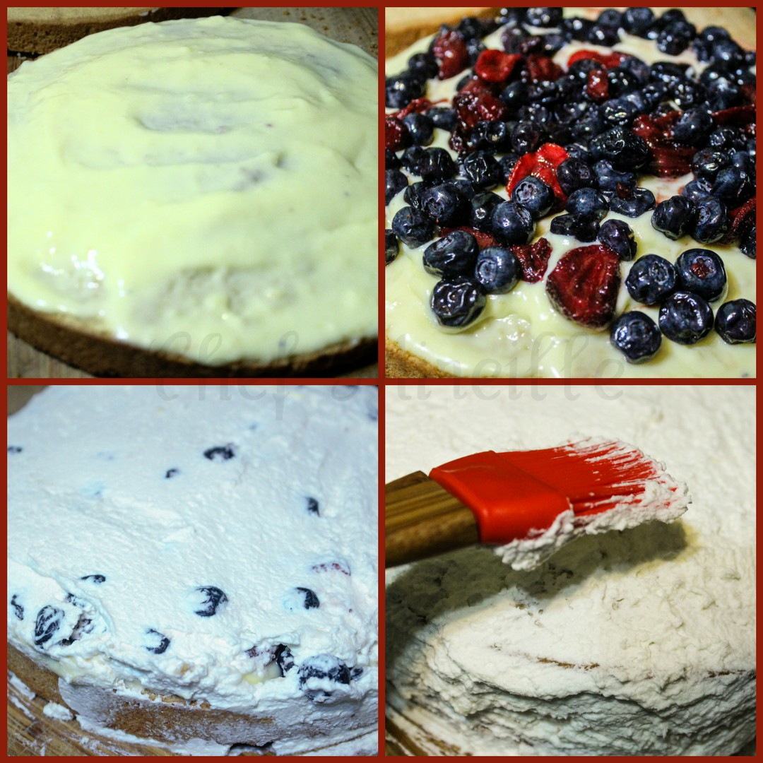 Putting together the layers of cake, fresh berries and whipped cream for Cream Cake.