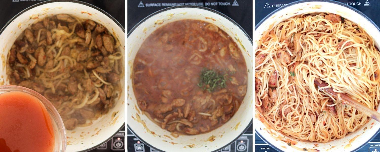cooking Haitian spaghetti