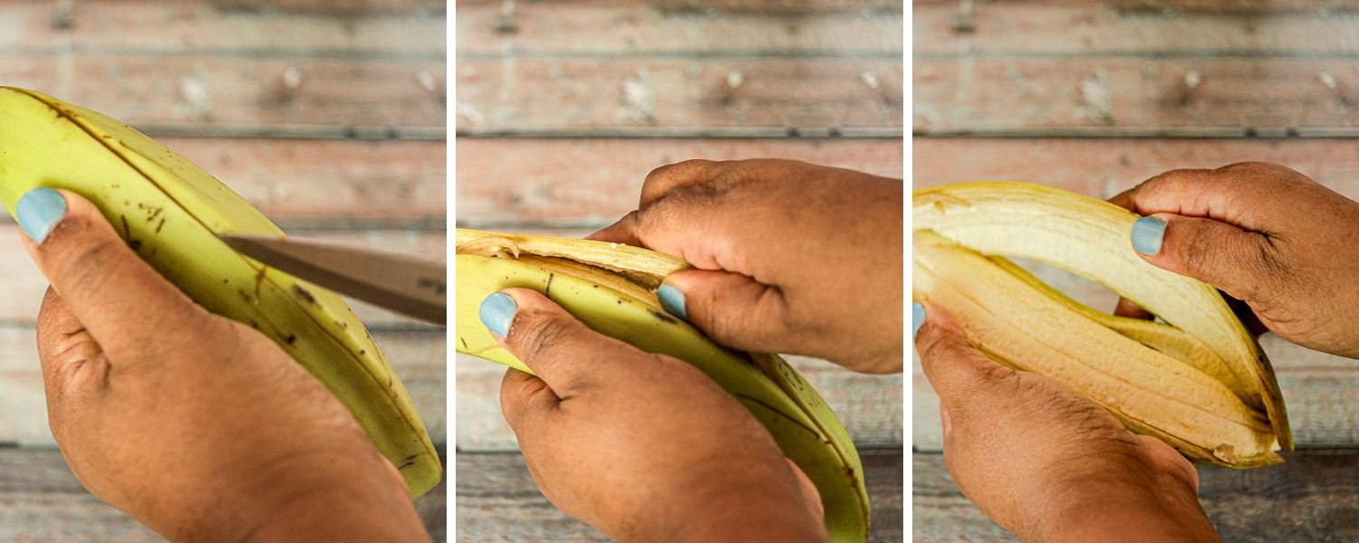 easiest way to peel unripe plantains with step by step instructions