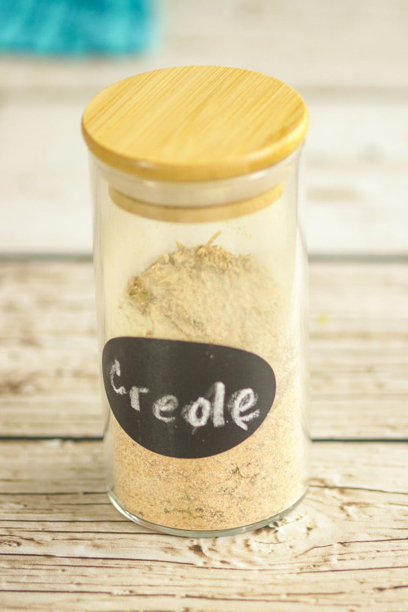 Homemade Creole Seasoning in a jar with label