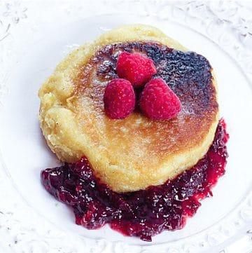 Cornmeal Pancakes with Strawberry Jam and fresh raspberries