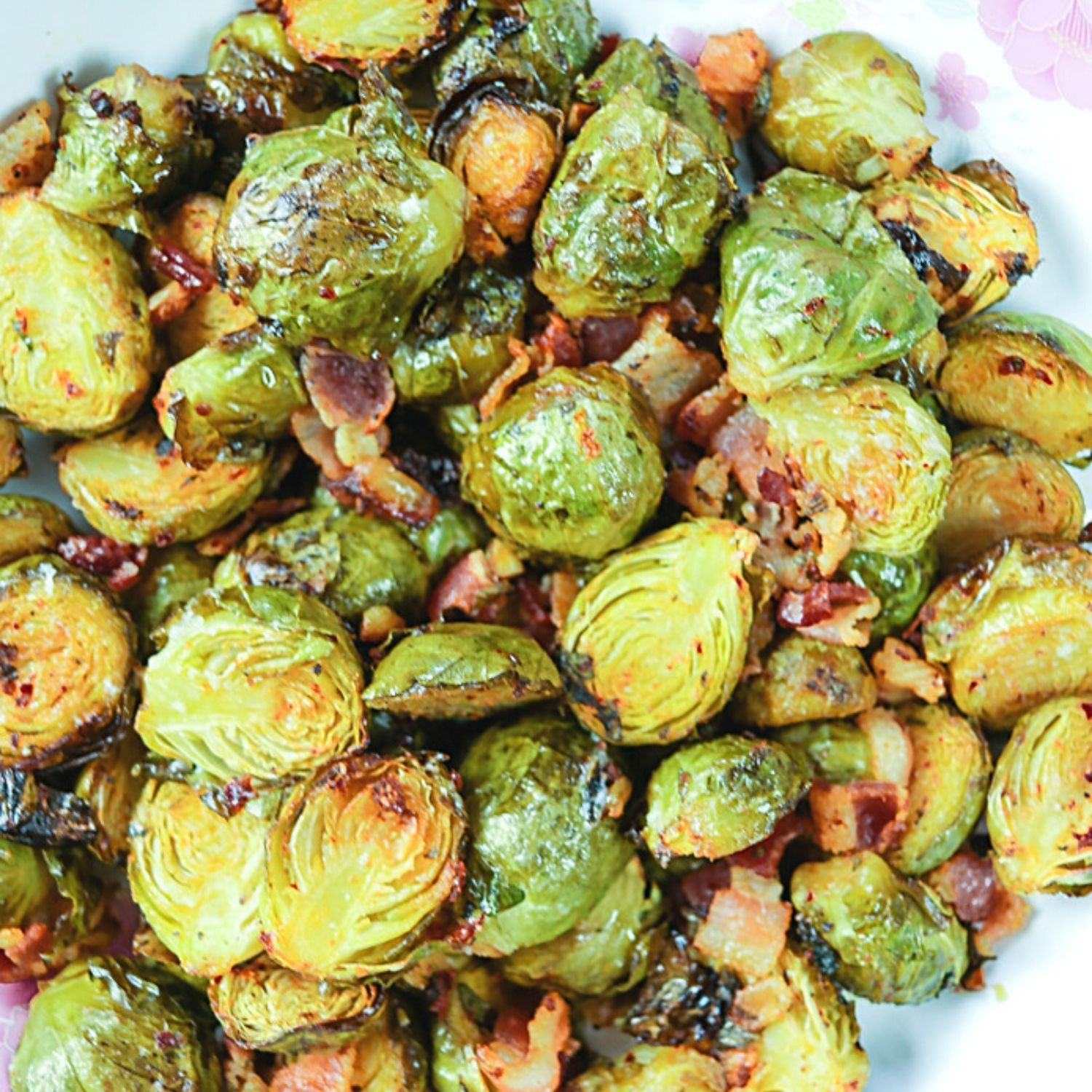 Roasted Brussel Sprouts with Harissa and Bacon