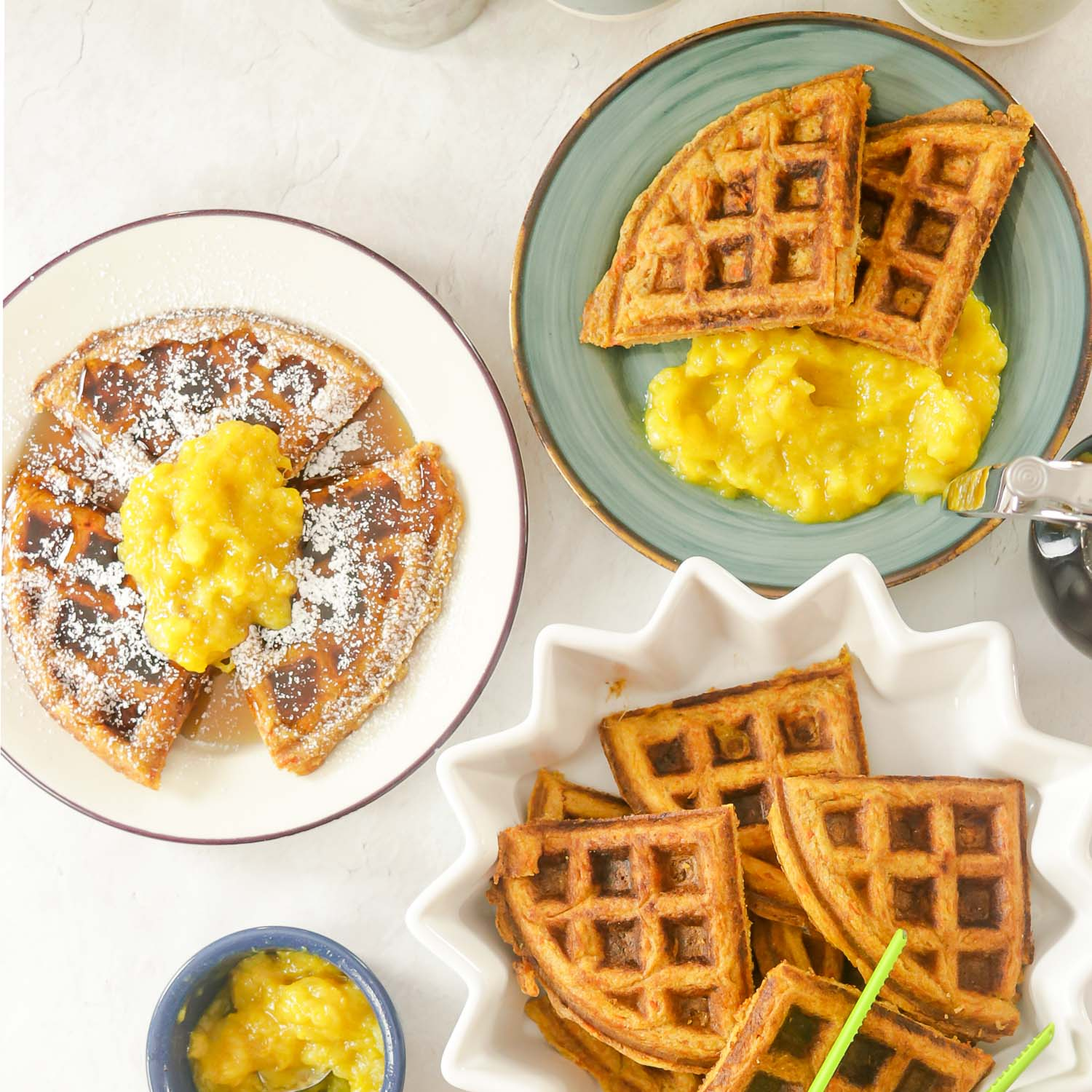 Healthy Carrot Cake Waffles with Mango Applesauce & Syrup