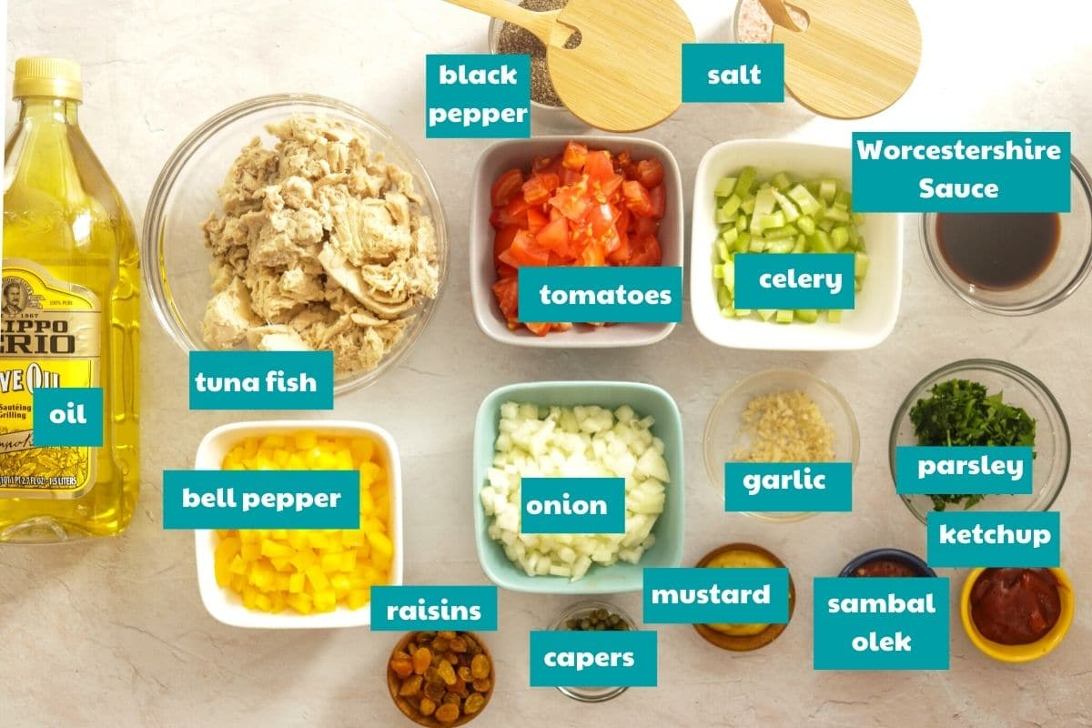 ingredients for Tuna Pastechi #arubarecipes