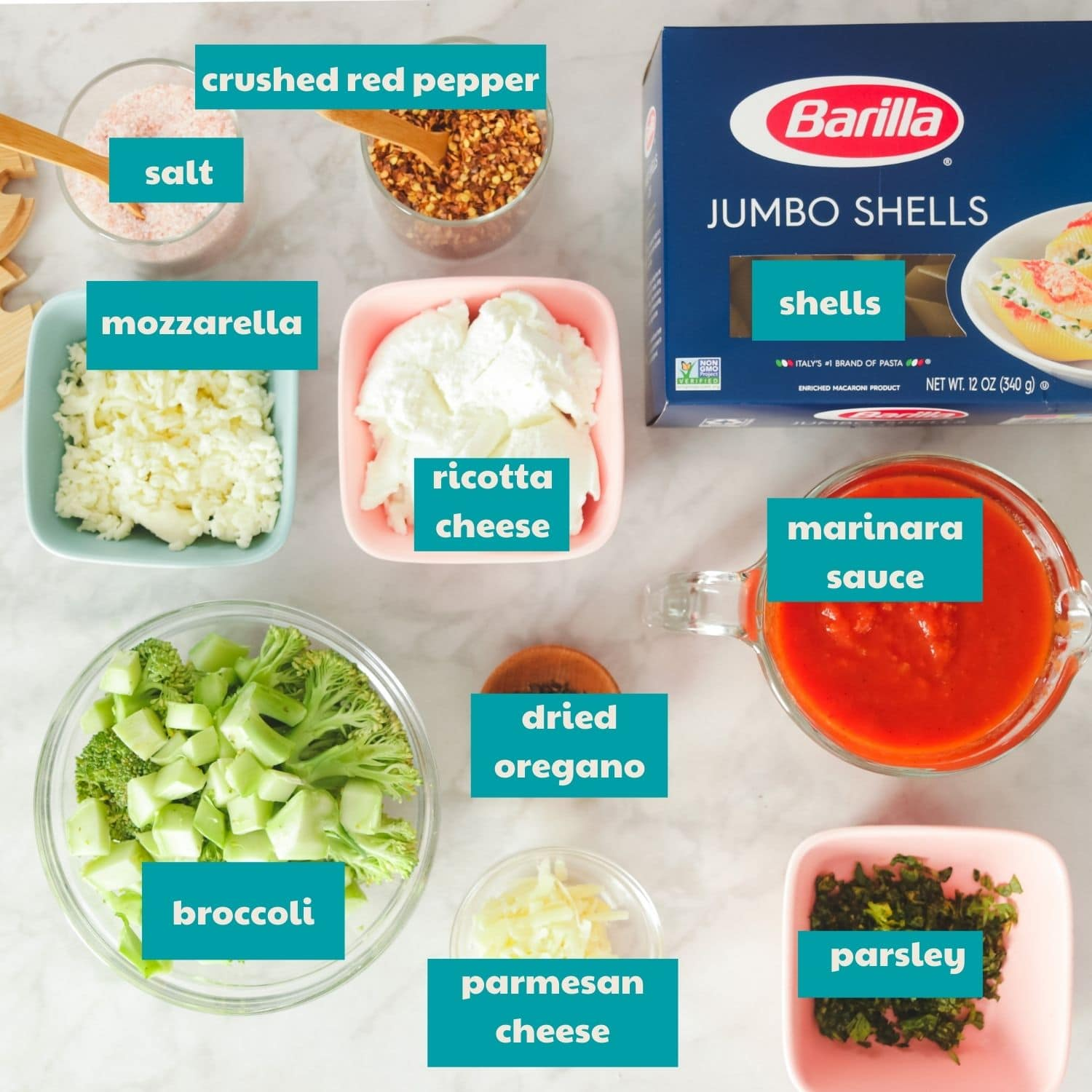 Ingredients for Classic Stuffed Shells