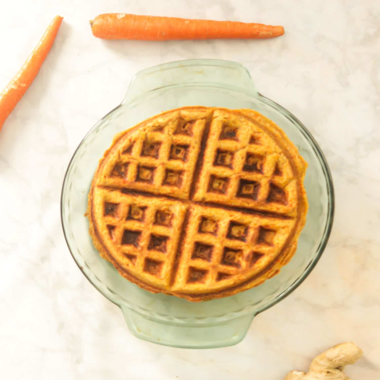 Healthy Whole Wheat Waffles - Carrot Cake Waffles
