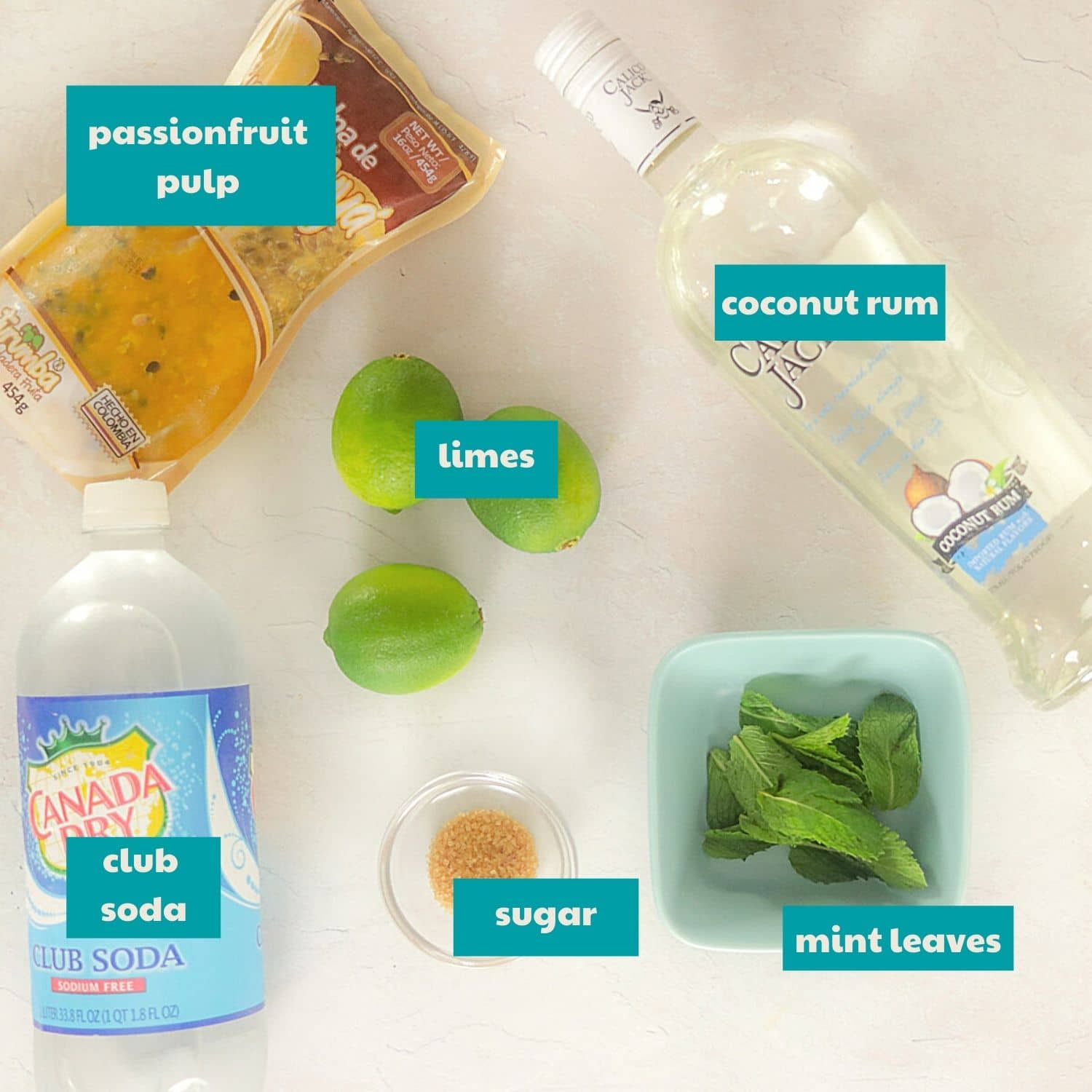 ingredients to make a mojito with labels